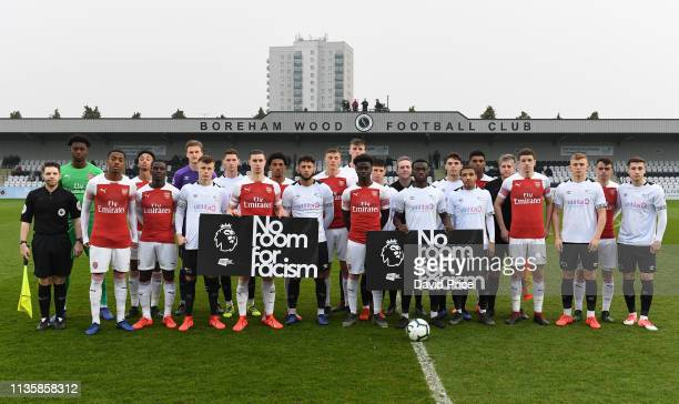 Arsenal and Derby players with the Premier League say no to Racism banner before the match between Arsenal and Derby County at Meadow Park on April 8...