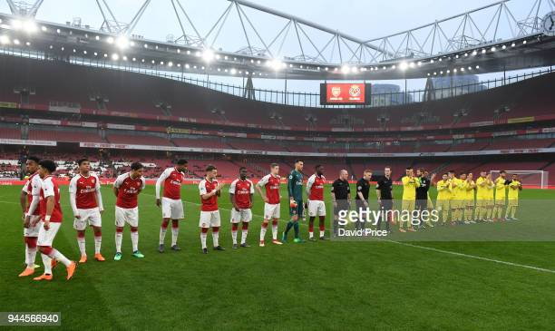 Arsenal and Villarreal line up before the match between Arsenal U23 and Villarreal U23 at Emirates Stadium on April 10 2018 in London England