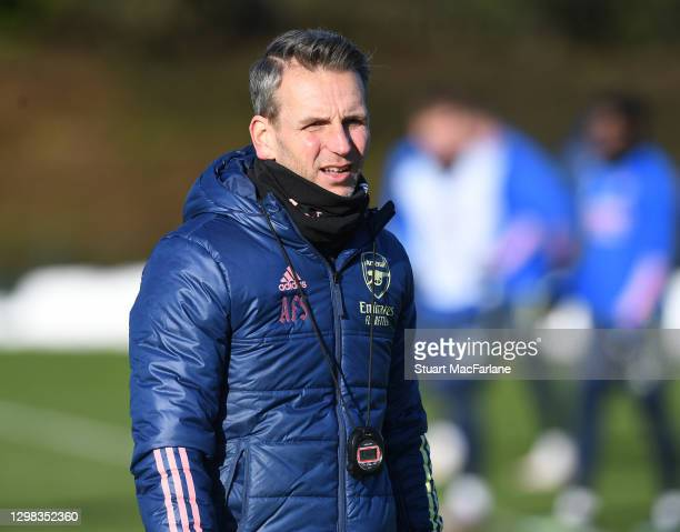 Arsenal assistant coach Albert Stuivenburg during a training session at London Colney on January 25, 2021 in St Albans, England.
