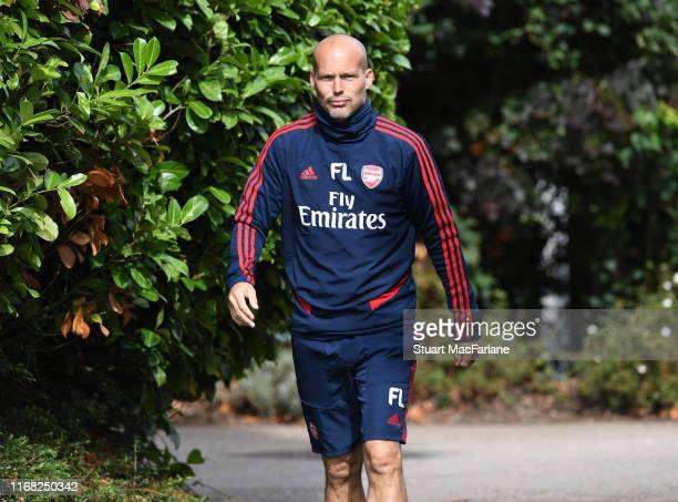 Arsenal assistant coach Freddie Ljungberg before a training session at London Colney on August 15 2019 in St Albans England