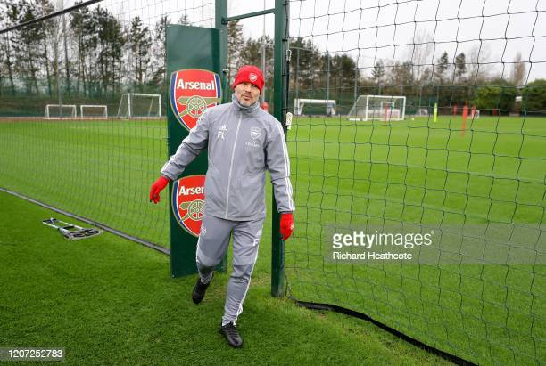 Arsenal assistant coach Freddie Ljungberg during a Arsenal Training Session at London Colney on February 19 2020 in St Albans England
