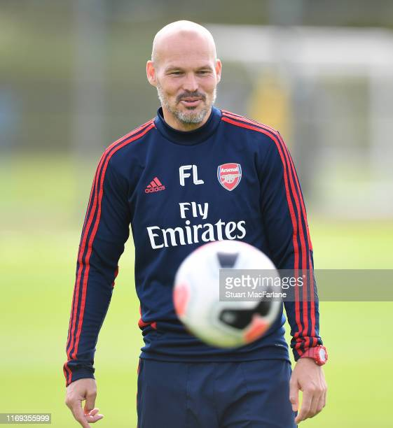 Arsenal assistant coach Freddie Ljungberg during a training session at London Colney on August 21 2019 in St Albans England