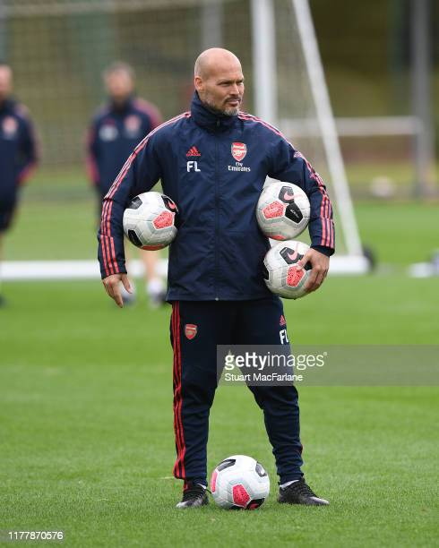 Arsenal assistant coach Freddie Ljungberg during a training session at London Colney on September 29 2019 in St Albans England