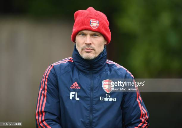 Arsenal assistant coach Freddie Ljungberg during a training session at London Colney on January 24 2020 in St Albans England