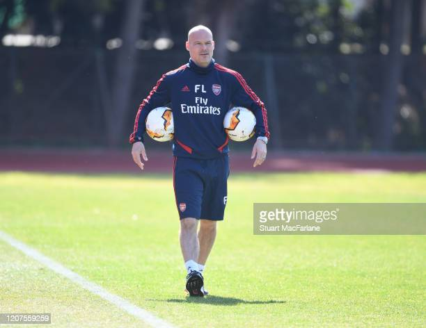 Arsenal assistant coach Freddie Ljungberg during a training session before the UEFA Europa League round of 32 first leg match between Olympiacos FC...