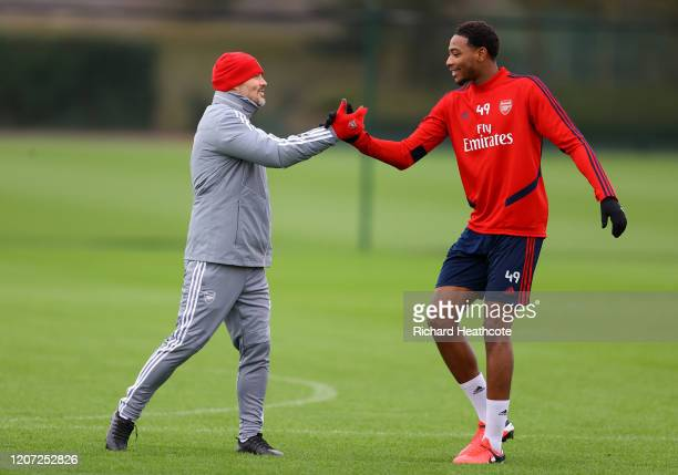 Arsenal assistant coach Freddie Ljungberg talks to Zech Medley of Arsenal during a Arsenal Training Session at London Colney on February 19 2020 in...