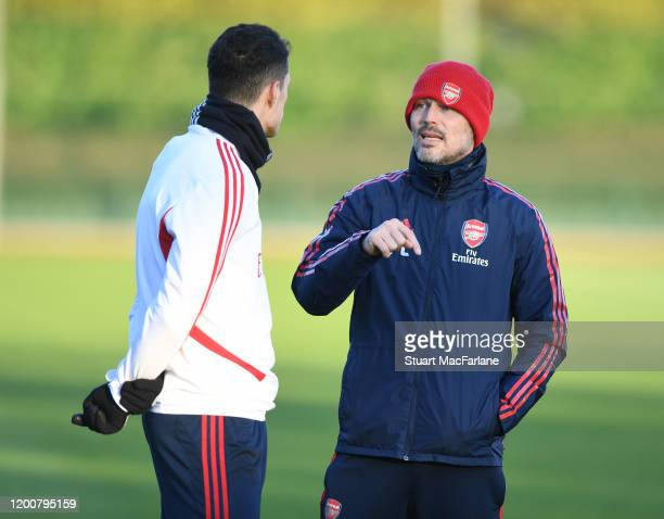 Arsenal assistant coach Freddie Ljungberg with Granit Xhaka during a training session at London Colney on January 20 2020 in St Albans England