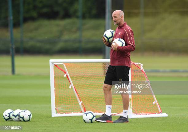 Arsenal assistant coach Steve Bould during a training session at London Colney on July 20 2018 in St Albans England