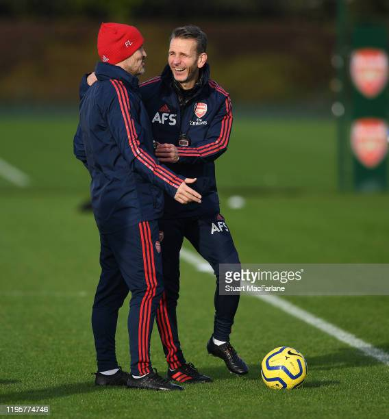 Arsenal assistant coaches Freddie Ljungberg and Albert Stuivenburg during a training session at London Colney on December 23 2019 in St Albans England