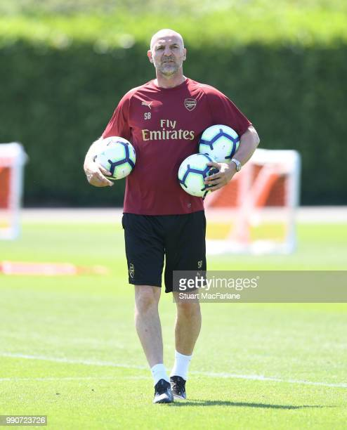 Arsenal Assistant Head Coach Steve Bould during a training session at London Colney on July 3 2018 in St Albans England