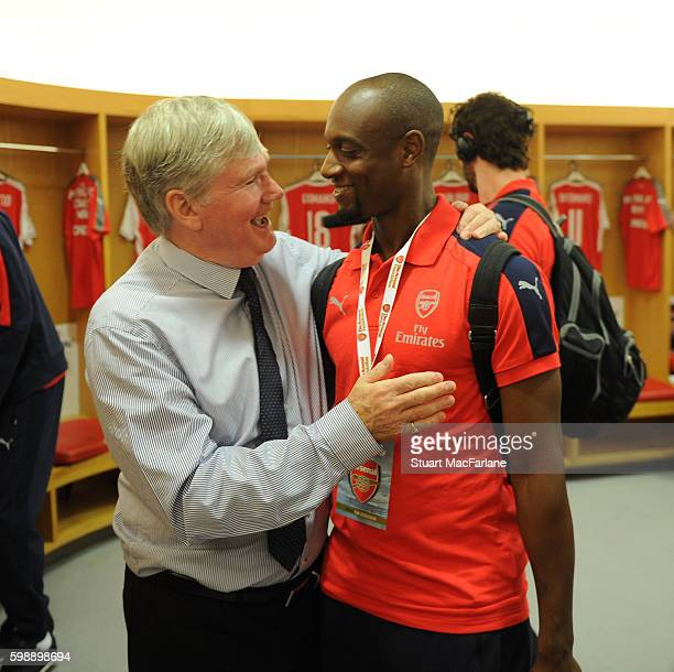 Arsenal assistant manager Pat Rice with Luis Boa Morte before the friendly match between the Arsenal Legends and Milan Glorie at Emirates Stadium on...