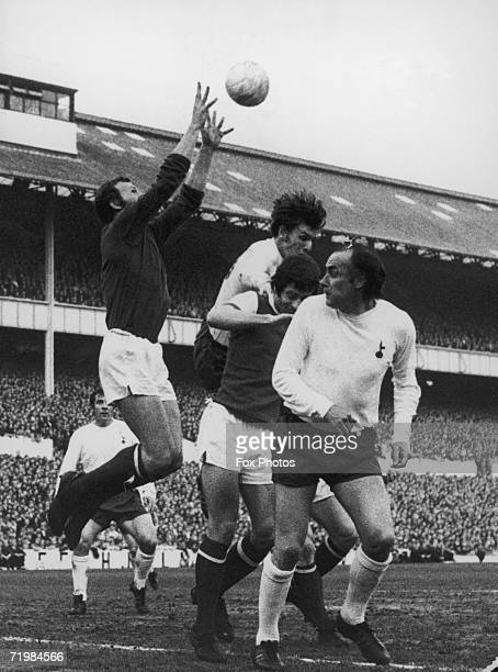 Arsenal beat Tottenham Hotspur 01 in the Football League championship final at White Hart Lane 3rd May 1971 Arsenal goalkeeper Bob Wilson and captain...