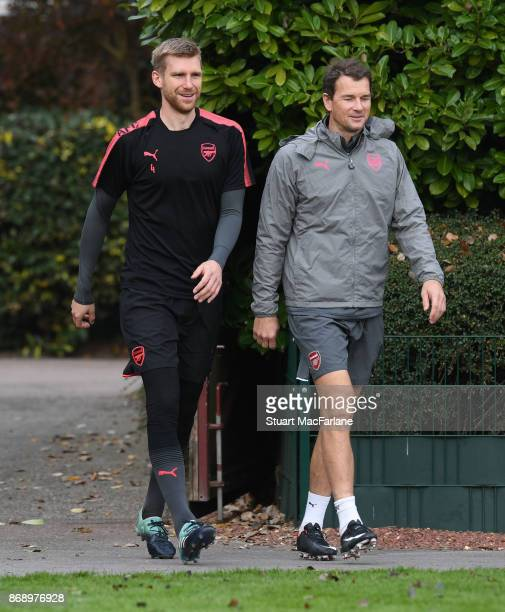 Arsenal captain Per Mertesacker with Jens Lehmann before a training session at London Colney on November 1 2017 in St Albans England