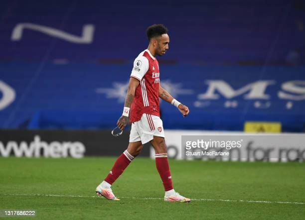 Arsenal captain Pierre-Emerick Aubameyang walks off after his substitution during the Premier League match between Chelsea and Arsenal at Stamford...