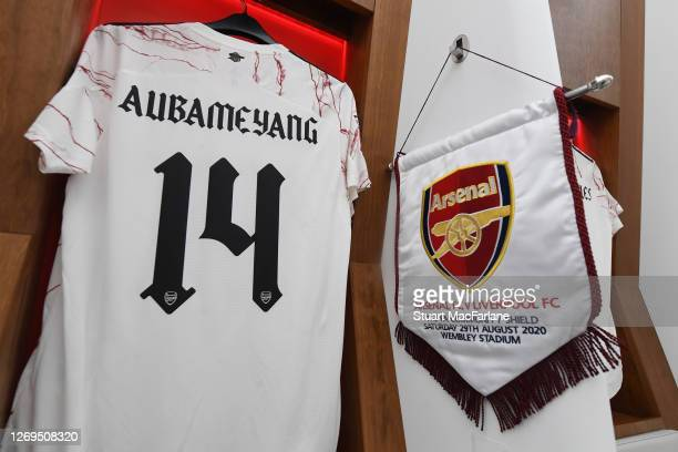Arsenal captain Pierre-Emerick Aubameyang's shirt and match pennant in the changing room before the FA Community Shield match between Arsenal and...