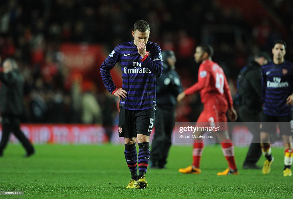 Arsenal captain Thomas Vermaelen reacts after the Barclays Premier League match between Southampton and Arsenal at St Mary's Stadium on January 01, 2013 in Southampton, England.