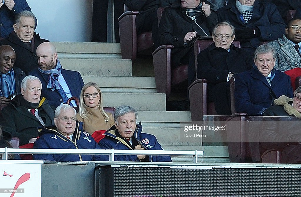 Arsenal Chairman Sir Chips Keswick and Arsenal Director Stan Kroenke in the Directors Box near to England manager Roy Hodgson (R) during the Emirates FA Cup Fourth Round match between Arsenal and Burnley in the FA Cup 4th round at Emirates Stadium on January 30, 2016 in London, England.