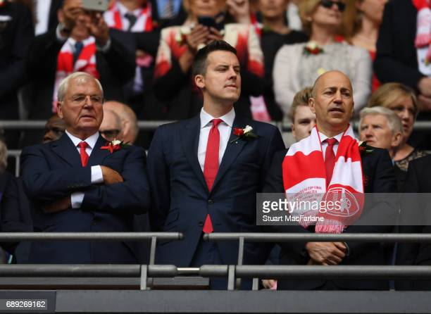 Arsenal chairman Sir Chips Keswick with director Josh Kroenke and CEO Ivan Gazidis before the Emirates FA Cup Final between Arsenal and Chelsea at...