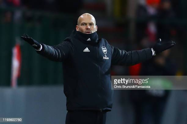 Arsenal coach Fredrik Ljungberg gestures during the UEFA Europa League group F match between Standard Liege and Arsenal FC at Stade Maurice Dufrasne...