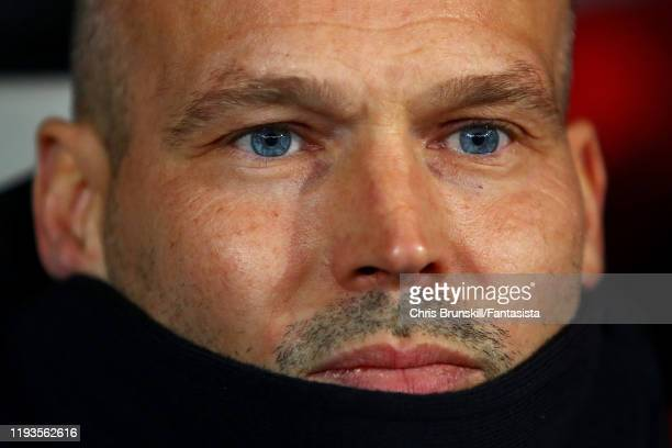 Arsenal coach Fredrik Ljungberg looks on during the UEFA Europa League group F match between Standard Liege and Arsenal FC at Stade Maurice Dufrasne...