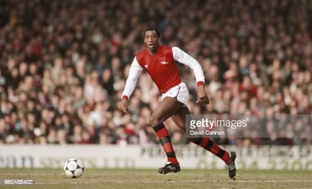 Arsenal defender Chris Whyte in action during the FA Cup match between Arsenal and Aston Villa at Highbury on March 12 1983 in London England