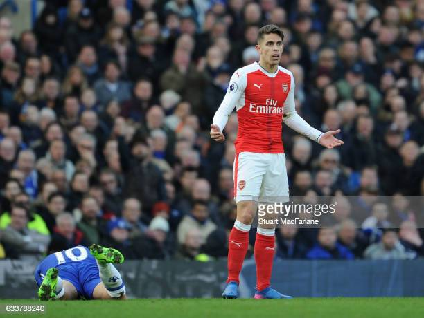 Arsenal defender Gabriel appeals to the referee after his challenge on Chelsea's Eden Hazerd during the Premier League match between Chelsea and...