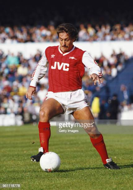 Arsenal defender Kenny Sansom pictured in action during a match against Tottenham Hotspur at White Hart Lane in October 1987 in London England