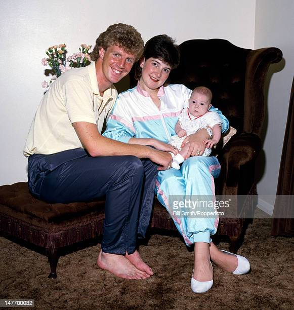 Arsenal defender Tommy Caton at home with his wife Gill and baby son, Stephen, circa 1985.