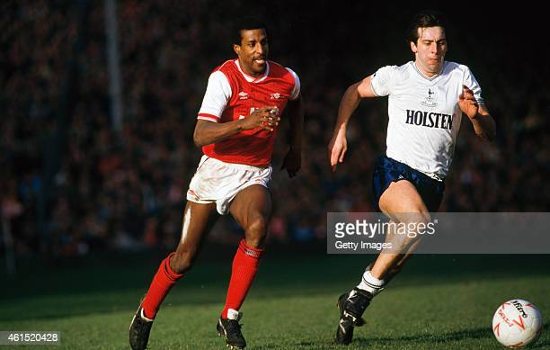 Arsenal defender Viv Anderson challenges Tony Galvin of Spurs during a Canon League Division One match between Arsenal and Tottenham Hotspur at...