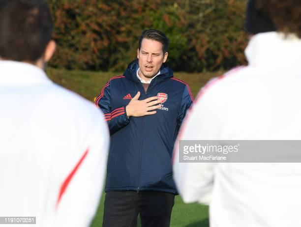 Arsenal Director Josh Kroenke talks to the players and staff before a training session at London Colney on November 30 2019 in St Albans England