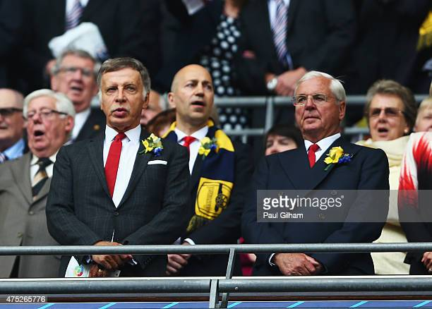Arsenal Director Stan Kroenke and Arsenal chairman Sir Chips Keswick look on prior to the FA Cup Final between Aston Villa and Arsenal at Wembley...