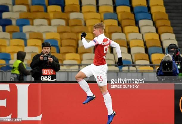Arsenal Emile Smith Rowe celebrates his scoring during UEFA Europa League Group E football match Vorskla FC vs Arsenal FC at the Olympiyski Stadium...