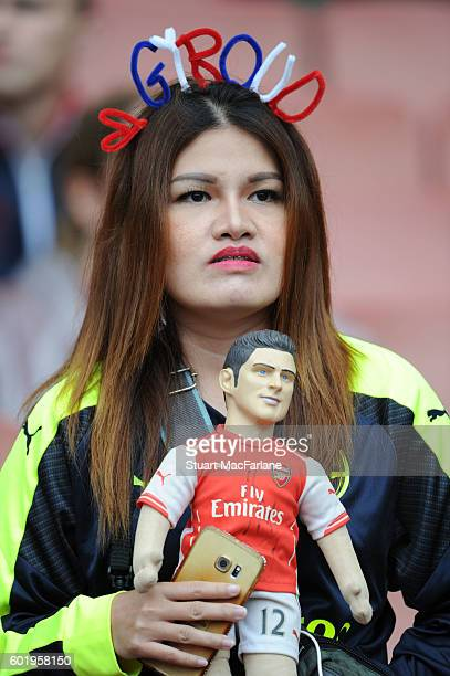 Arsenal fan before the Premier League match between Arsenal and Southampton at Emirates Stadium on September 10 2016 in London England