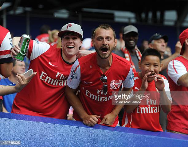 Arsenal fans before the match between New York Red Bulls and Arsenal at the Red Bull Arena on July 26 2014 in Harrison New Jersey