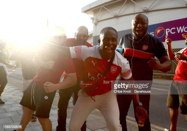 Arsenal fans celebrate outside of the stadium at full time during the FA Cup Final match between Arsenal and Chelsea at Wembley Stadium on August 01,...