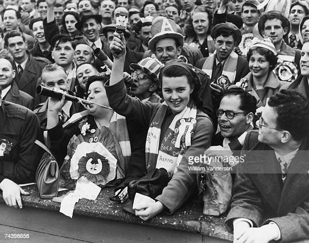 Arsenal fans dressed up at Wembley Stadium to see their team play Newcastle in the FA Cup final 3rd May 1952