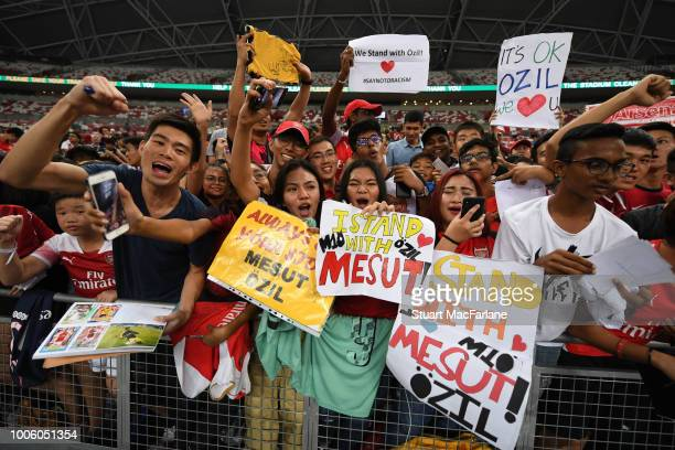 Arsenal fans during a training session at the Singapore National Stadium on July 27 2018 in Singapore