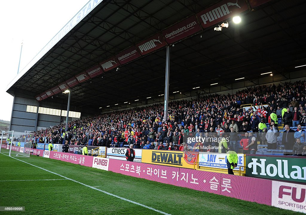 Arsenal fans during the Barclays Premier League match between Burnley and Arsenal at Turf Moor on April 11, 2015 in Burnley, England.