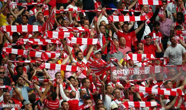 Arsenal Fans during The Emirates FA Cup Final between Arsenal against Chelsea at Wembley Stadium on May 27 2017 England