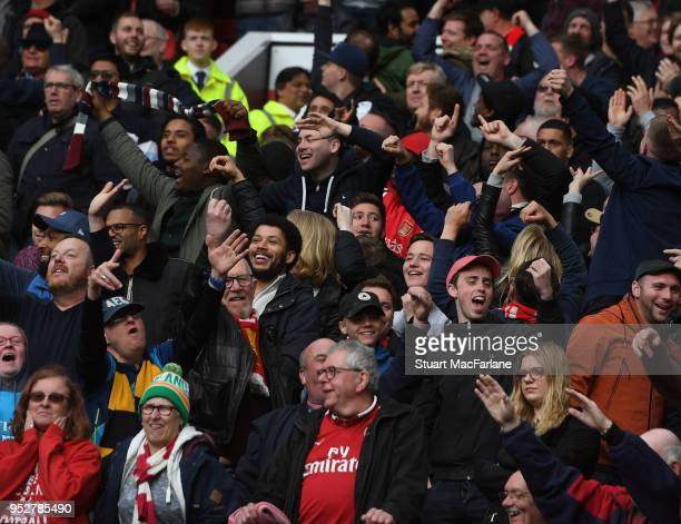Arsenal fans during the Premier League match between Manchester United and Arsenal at Old Trafford on April 29 2018 in Manchester England