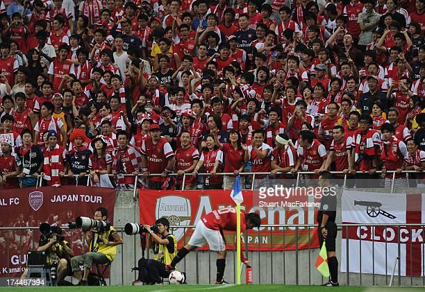 Arsenal fans during the preseason Asian Tour friendly match between Urawa Red Diamonds and Arsenal at Saitama Stadium on July 26 2013 in Saitama Japan