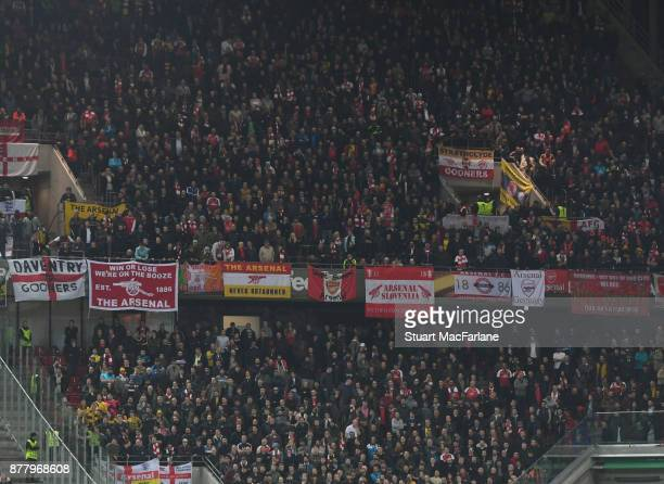 Arsenal fans during the UEFA Europa League group H match between FC Koln and Arsenal FC at RheinEnergieStadion on November 23 2017 in Cologne Germany