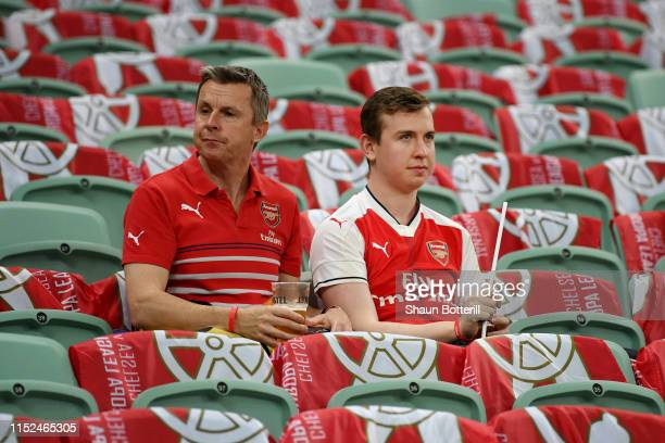 Arsenal fans enjoy the pre match atmosphere prior to the UEFA Europa League Final between Chelsea and Arsenal at Baku Olimpiya Stadionu on May 29...