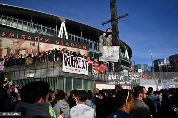 Arsenal fans hang and effigy of Owner Stan Kroenke during a protest outside the stadium prior to the Premier League match between Arsenal and Everton...