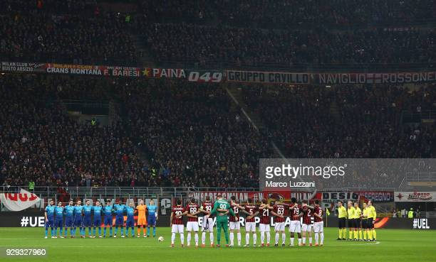 Arsenal FC and AC Milan players line up to pay their respects to the late Fiorentina Captain Davide Astori before UEFA Europa League Round of 16...