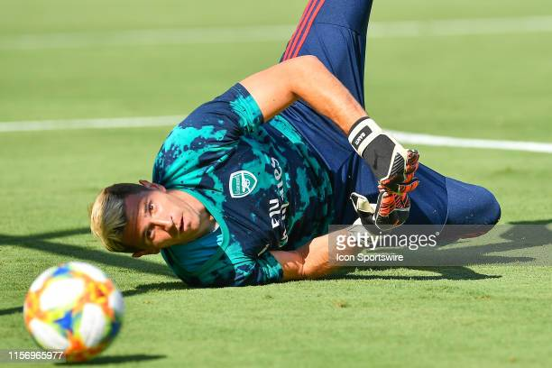 Arsenal FC goalkeeper Emiliano Martinez warms up prior to the start of the International Champions Cup match between Arsenal FC and ACF Fiorentina on...