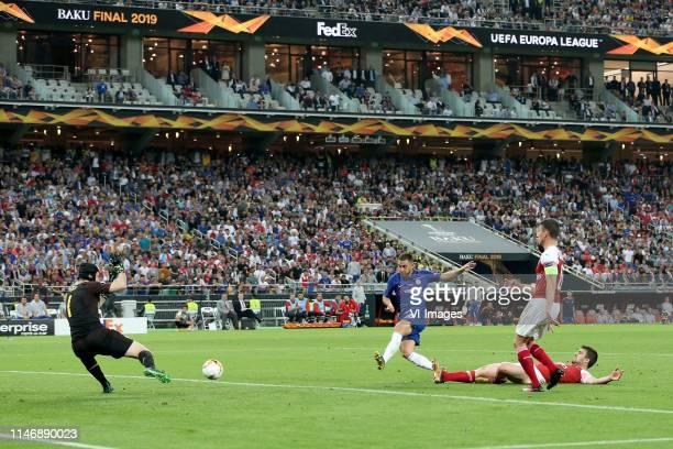 Arsenal FC goalkeeper Petr Cech, Eden Hazard of Chelsea FC, Laurent Koscielny of Arsenal FC, Sokratis Papastathopoulos of Arsenal FC 4-1 during the...