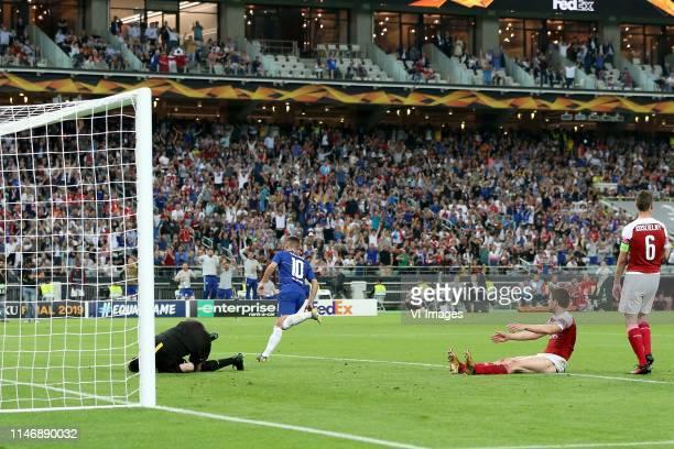 Arsenal FC goalkeeper Petr Cech, Eden Hazard of Chelsea FC, Sokratis Papastathopoulos of Arsenal FC, Laurent Koscielny of Arsenal FC during the UEFA...