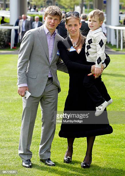 Arsenal FC player Andrey Arshavin, wife Yulia Arshavin and son Artyom Arshavin attend the Moss Bros Raceday horse racing meet on April 28, 2010 in...