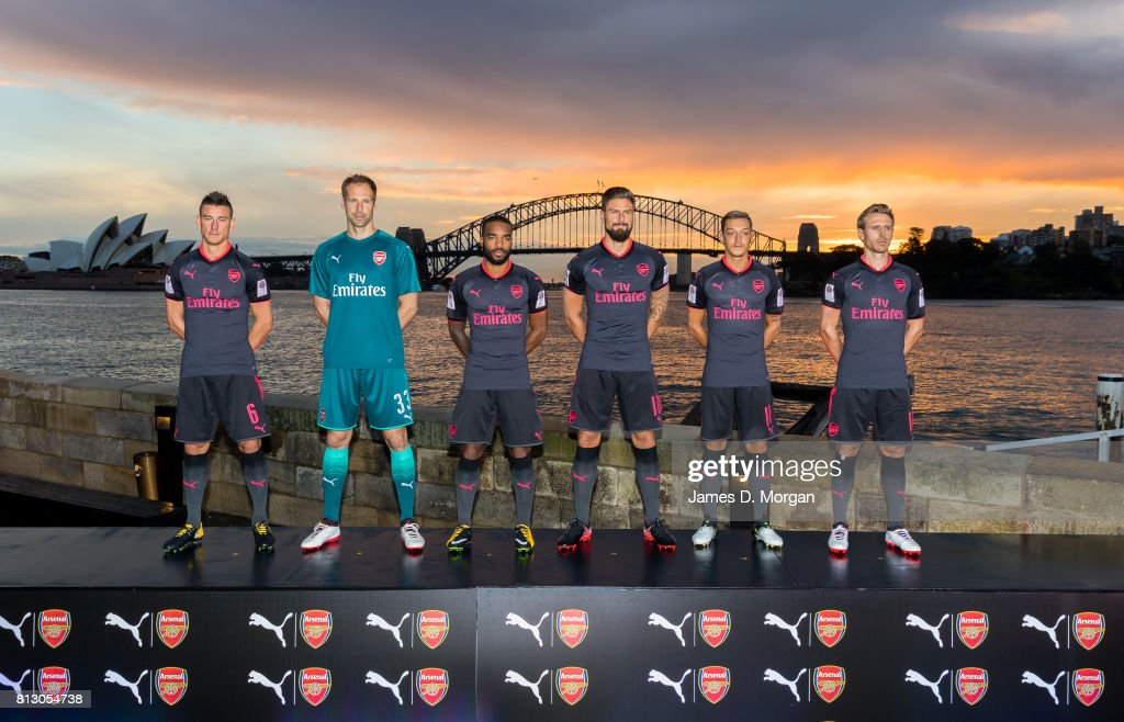 Arsenal FC players, Laurent Koscielny, Petr Cech, Alexandre Lacazette, Olivier Giroud, Mesut Ozil and Nacho Monreal during the unveiling of Arsenal FC's new third kit at Fort Denison on July 12, 2017 in Sydney, Australia.